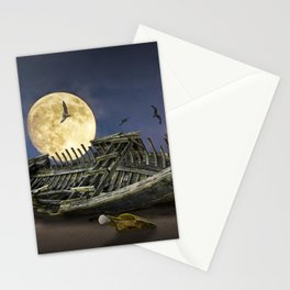 Moon and Wooden Shipwreck with Gulls Stationery Cards