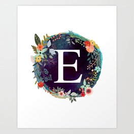 Personalized Monogram Initial Letter E Floral Wreath Artwork Art Print