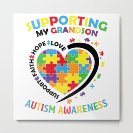 Autism Supporting My Grandson Puzzle Awareness Day Metal Print
