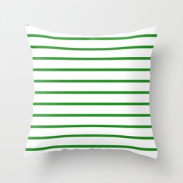 Horizontal Lines (Forest Green/White) Throw Pillow