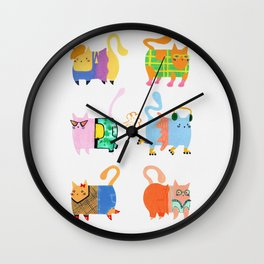 Fashion Cats - Rainbow Palette Wall Clock