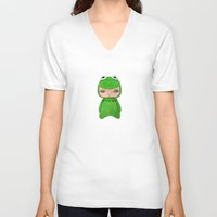 muppet V-neck T-shirts featuring A Boy - Kermit the frog by Christophe Chiozzi