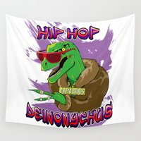 hip hop Wall Tapestries featuring Hip Hop Deinonychus by Jamie Parks