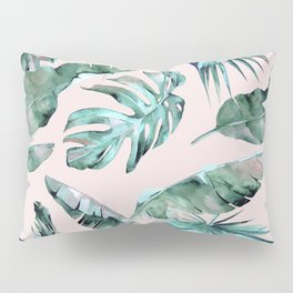 Tropical Palm Leaves Turquoise Green Coral Pink Pillow Sham