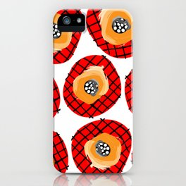 Irregular Red Circles with Black Cross Hatch Yellow Orange and Black Center. iPhone Case