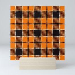 Orange and Black Modern Trendy Plaid Print Mini Art Print