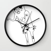 booty Wall Clocks featuring cutie with da booty by Aide VANESSAHHHHHH Flores