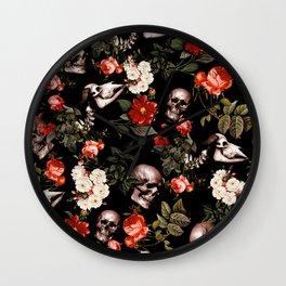 Floral and Skull Dark Pattern Wall Clock