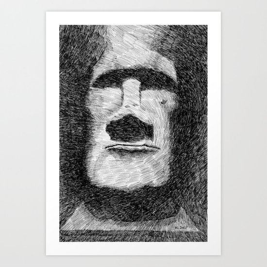Easter island - Moai statue - Ink Art Print
