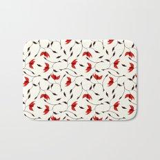 Strange Red Flowers Pattern Bath Mat