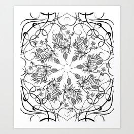 BLACK AND WHITE FLORAL MANDALA Art Print