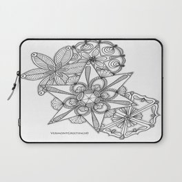Vermont Zentangle Snow Flakes Illustration Laptop Sleeve