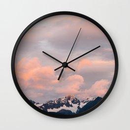 Alaskan Mountain Sunset (Pink) II Wall Clock