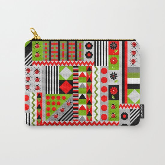 Geometric spring design with ladybugs and flowers Carry-All Pouch
