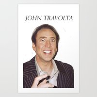 nicolas cage Art Prints featuring John Travolta // Nicolas Cage by Jared Cady