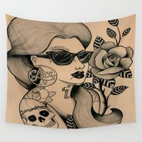 sunglasses Wall Tapestries featuring chola sunglasses by frankcaponefelix