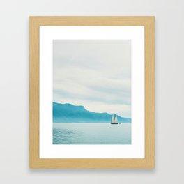 Modern Minimalist Landscape Ocean Pastel Blue Mountains With White Sail Boat Framed Art Print