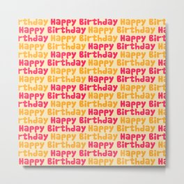Happy Birthday in Pink & Yellow Metal Print