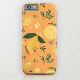 Whimsical Repeat Lemon Print Illustration - Orange iPhone Case