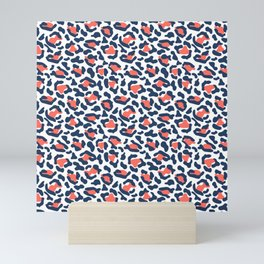 Abstract Leopard Print in Coral and Navy Blue Mini Art Print