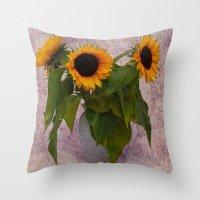sunflowers Throw Pillows featuring Sunflowers  by Guna Andersone & Mario Raats - G&M Studi