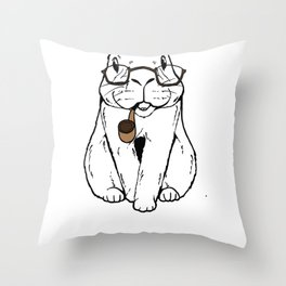 Rabbit Clipart Rabbit Line Art Bunny Wearing Glasses and Smoking a Pipe Throw Pillow