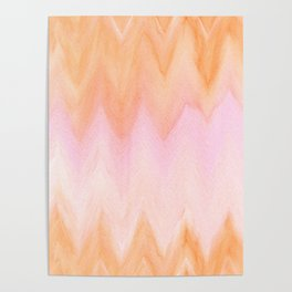 Blush pink orange watercolor hand painted ombre ikat Poster