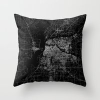 memphis Throw Pillows featuring Memphis map by Line Line Lines