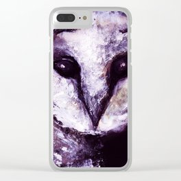 Barn Owl Painting by Lil Owl Studio Clear iPhone Case