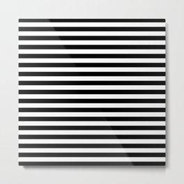 Horizontal Stripes (Black & White Pattern) Metal Print