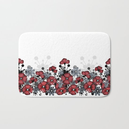 Red flowers on a white background . Bath Mat