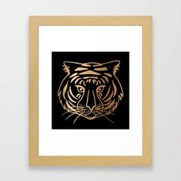 Gold and Black Tiger Framed Art Print