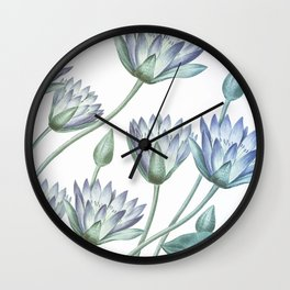 Water Lily Blue Wall Clock