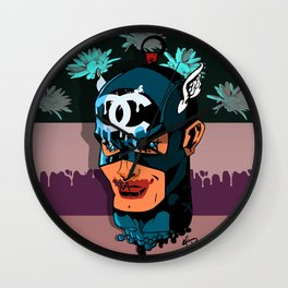 Captain A vs Chaneldrip w/ flowers Wall Clock