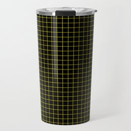 Dark Yellow Grid Travel Mug