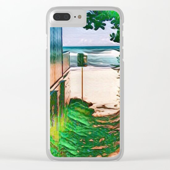 Hippie Beach View (Hippy / Hipster Waves of the Ocean) Clear iPhone Case