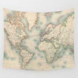 Vintage Map of The World (1911) Wall Tapestry