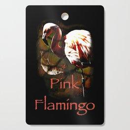 Pink Flamingo in the rain Cutting Board
