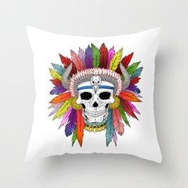 Shamanistic skull Throw Pillow