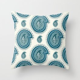 Hand drawn lily of the valley floral paisley damask Throw Pillow