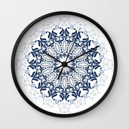 Blue ornament on a white background. Wall Clock