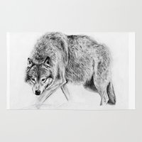 wolf Area & Throw Rugs featuring Wolf by Anna Shell