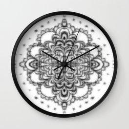 Mandala lace doily fuzz ball Wall Clock