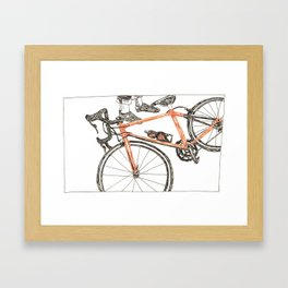 Orange bicycle Framed Art Print