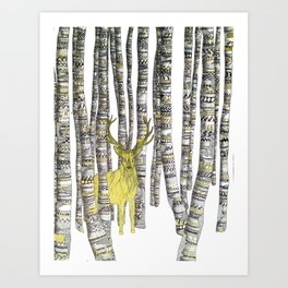 The Golden Stag Art Print