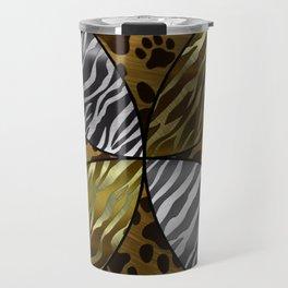 Golden Kitty Paws&Zebra Print  Travel Mug