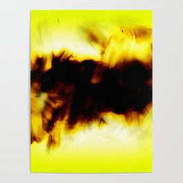 Hole In My Heart Black White Yellow Abstract Poster