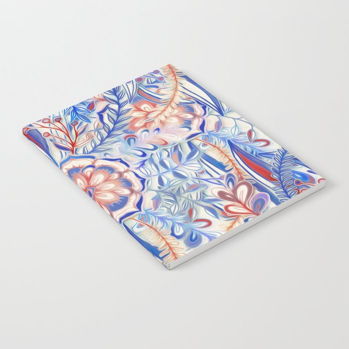 Boho Flower Burst in Red and Blue Notebook