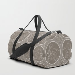 Grisaille Chestnut Brown Neo-Classical Ovals Duffle Bag