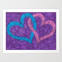 Linked Hearts Art Print